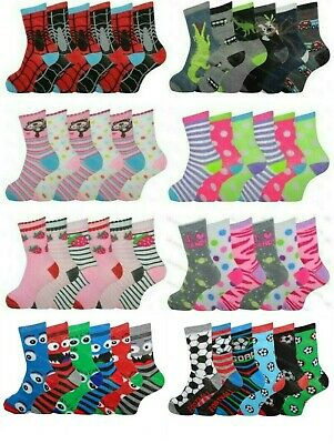Girls Boys Socks 6 Pairs Childrens Kids Novelty Character Funky Designs