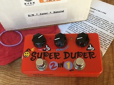 Zvex Super Duper 2 in 1 Boost/Overdrive Effects Pedal Rare Myrold Handpainted 06