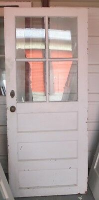 Exterior Antique Wood Door 4 Panes Glass 3 Horizontal Flat Panels Short 32 X 74