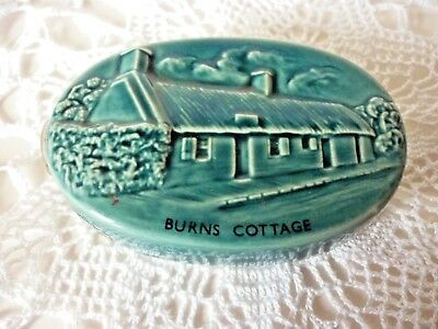 Beswick Beneagles Scotch Whisky Flask Embossed Burns Cottage Blue Glaze
