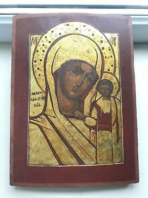 """Antique 18c Russian Orthodox Hand Painted Wood Icon """"The Vergin of Kazan"""""""