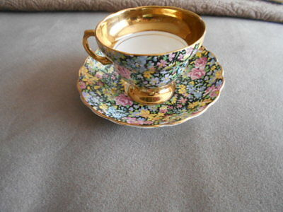 ROSINA FLORAL CHINTZ  TEA CUP /SAUCER-Vintage-Heavy Gold Trim footed -England