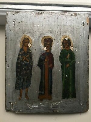 """Antique 18c Russian Orthodox Hand Painted Wood Icon """"Selected Saints"""""""