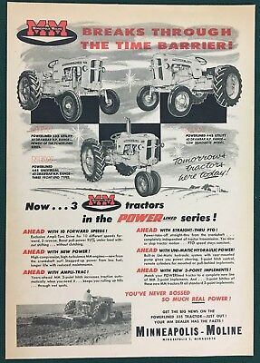 1957 MINNEAPOLIS-MOLINE POWERLINED 335 & 445 UTILITY TRACTOR + MORE, Lg ad