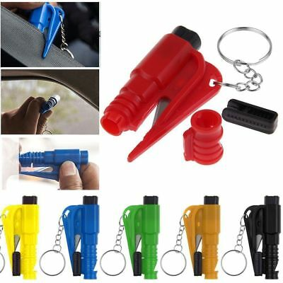 Emergency Safety Escape Car Window Breaker Whistle Keyring SeatBelt Cutter Blue