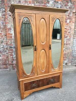 Antique Early 20Th Century Satinwood Wardrobe - Mirrored-Door Double Wardrobe