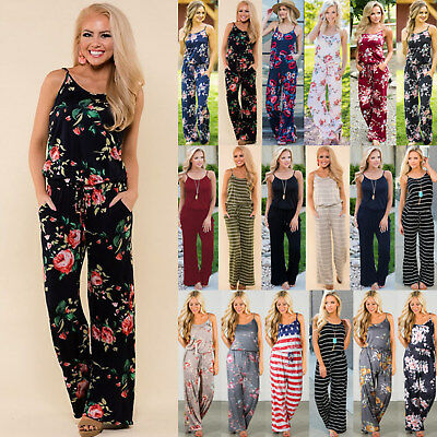 Plus Size! UK Womens Off Shoulder Playsuit Ladies Summer Jumpsuit Trousers 6-20