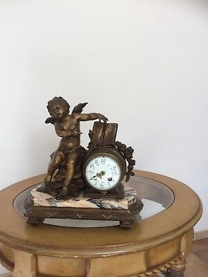 Antique French 8 Day Striking bronze Metal & Marble Mantel Clock