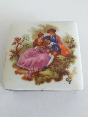 A Limoges Porcelain Topped Compact