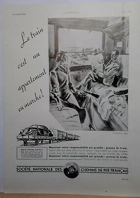 "Publicité presse ""LE TRAIN CEST UN APPARTEMENTEN MARCHE"" SNCF 1939 -Paul Martial"