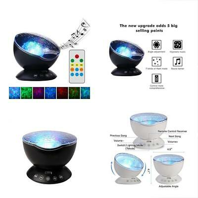 TOMNEW Remote Control Night Light Ocean Wave Projector 7 Colorful Ceiling Mood