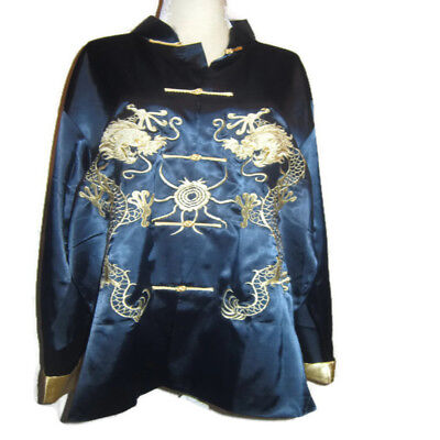 Rare Vintage Womens Plus XXL 3X Golden Dragon Kimono Jacket Robe Blue