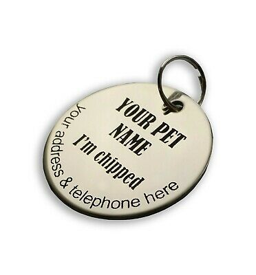 Personalised dog pet ID tag stainless steel both sides laser engraved