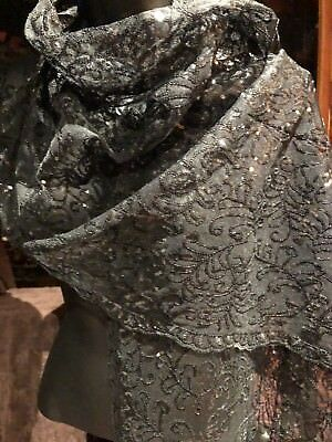 Vintage Victorian Style Antique Black Lace Shawl Scarf Wrap