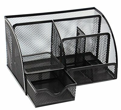 PAG Office Supplies Mesh Desk Organizer Pen Holder 7 Compartments, Black