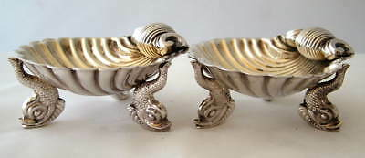 VICTORIAN PAIR~ 1876 ~Solid Silver DOLPHIN SHELL OPEN SALT CELLARS ~DRAGON CREST