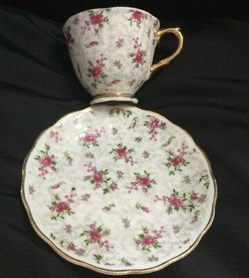 Vintage NAPCO China Hand Painted Teacup Saucer All Over Pink Roses Gold Rimmed