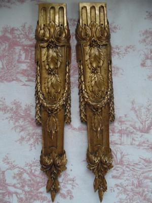 DIVINE PAIR OF LARGE ANTIQUE FRENCH GILT BRONZE MOUNTS- Late 1800's