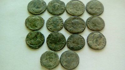 Beautiful Lot Of 14 Ancient Bronze Roman Coins Uncleaned