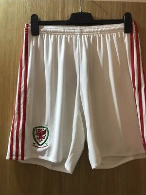 Brand New Adidas Fa Wales Home 2016 Shorts White Sizes Medium, Large