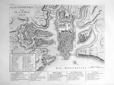 ca. 1820 Malta Malte Valletta carta map Italia acquaforte engraving Saint Non