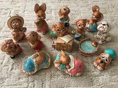 Vintage Pendefin Stonecraft figurines, Set of 13, made in England