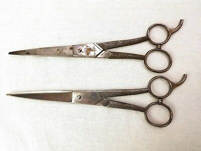 Antique C-MON HF Peter J Michels Sheffield England Scissors Hand Forged Lot of 2