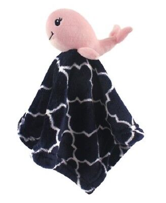 Hudson Baby Security Blanket Pink Whale Girls Gift Shower 14 x 14 Plush Soft L20