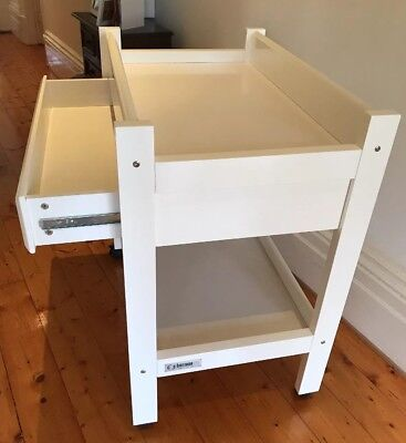 White Timber Tasman Eco Europa Change Table With Drawer - Excellent Condition