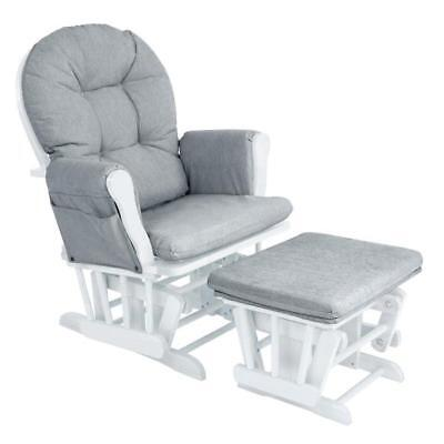 White Grey Glider Chair Footstool Baby Infant Nursing Feeding Furniture NEW