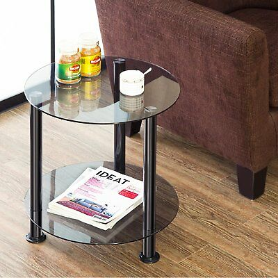 Grey Coffee End Tables Sofa Side Table Tempered Glass Small Desk File Organizer