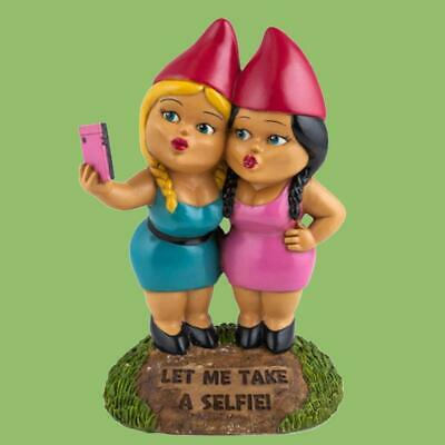 The Selfie Sisters Garden Gnome