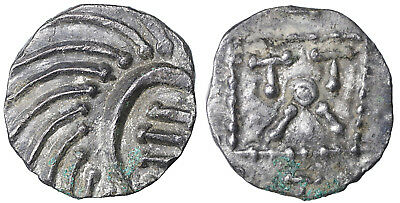 Early Anglo-Saxon England continental phase AR. Sceat 695-740 AD Rare UNC #vk5