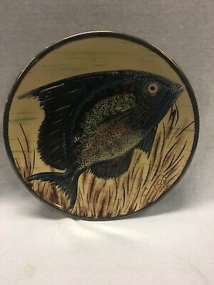 Vintage Australian Pottery Plate Decorated With Speckled Fish Signed C D