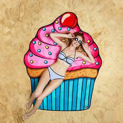 Gigantic Cupcake Beach Blanket Towel with Carry Pouch 152cm