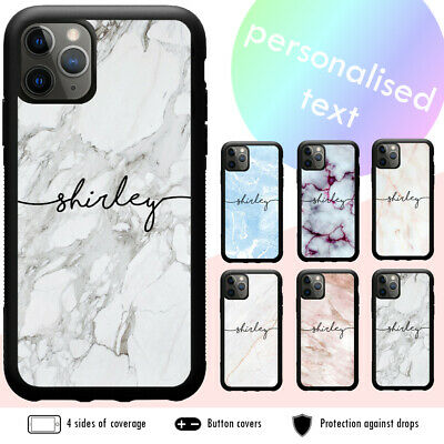 iPhone XS MAX XR X 8 7 6s Plus SE Shockproof Case Cover Marble Personalised Name