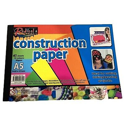 NEW 40 Sheets A5 Craft Construction Paper 90gsm Cutting Folding Project 10Colour