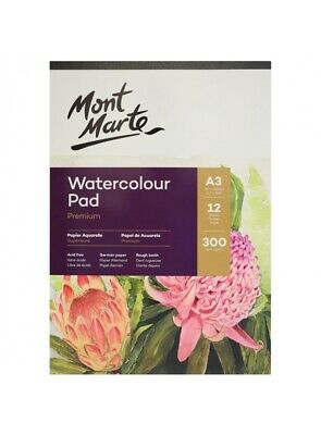 Mont Marte Watercolour Pad A3 12 Sheet 300gsm German Paper Drawing Painting Book