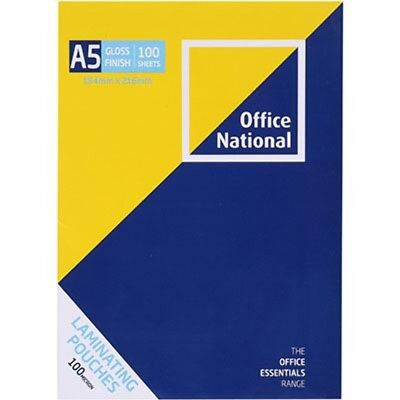 NEW PHE OFFICE NATIONAL LAMINATING POUCHES 100 MICRON A5 PACK 100 free shipping