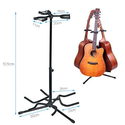Floor Triple Guitar Stand Height Adjustable Acoustic Electric Bass Guitar Rack