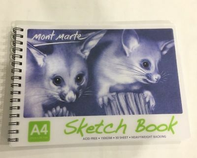 New 2x Mont Marte Sketch Book A4 30 Sheet 150 gsm Drawing Painting Art Craft
