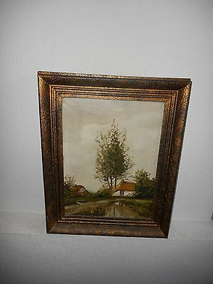 Old oil painting,{ Beautiful landscape, is signed, nice frame }. Is antique!