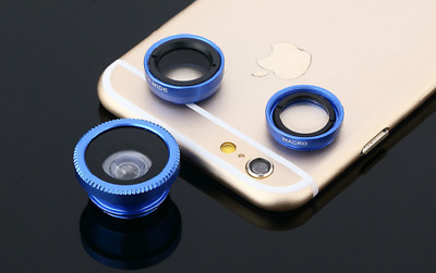New Blue 3 in1 Fisheye Wide Angle Macro Clip-on Camera General Mobile Phone Lens