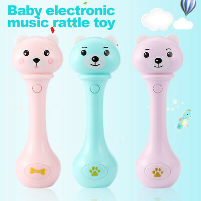 Baby Plastic Hand Bell Toys Puzzle Music Sound Light Shaking Rattles 6-12 Months