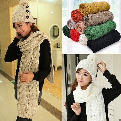 Women Cashmere Wool Scarf Large Shawl Lady Winter Warm Long Knitted Solid Scarf