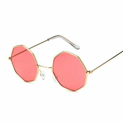 Women Yellow Red Color Round Shape Mirror Small Vintage Clear Sunglasses
