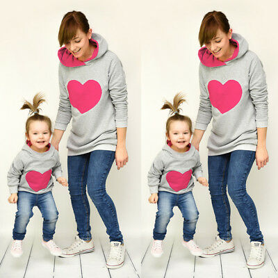Family Matching Clothes Mother And Daughter Hearts Hoodie Sweatshirt Hoody Dress