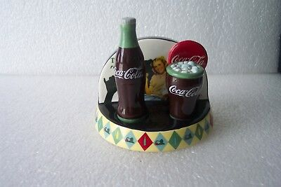 """RARE! Coca Cola """"LUNCH REFRESHED"""" Salt & Pepper Shakers & Display Stand 3 Pieces"""