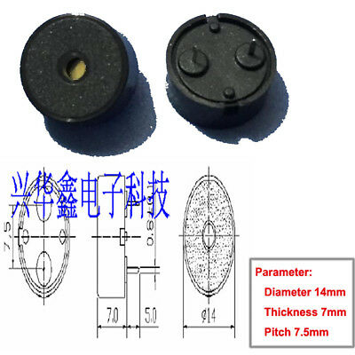 10PC Diameter 14mm Thickness 7mm Pitch 7.5mm Passive Piezoelectric Buzzer