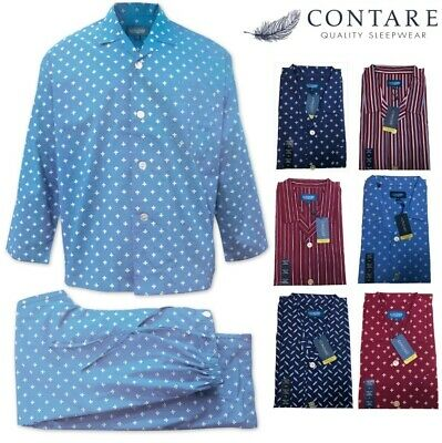 CONTARE 100% COTTON Pyjamas PJs LONG SLEEVE SHIRT & PANTS SET Mens PLUS